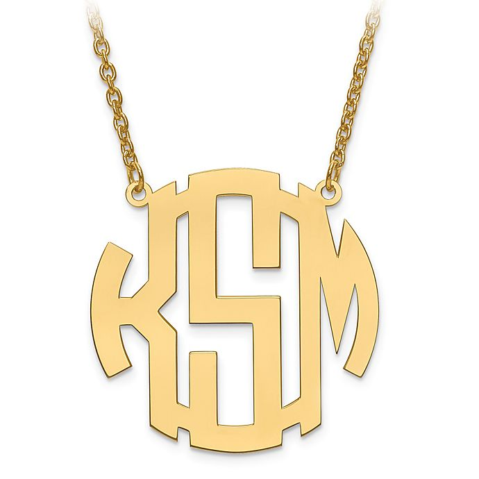 Alternate image 1 for 14K Gold-Plated Sterling Silver Block Letter 18-Inch Chain Medium Circular Pendant Necklace