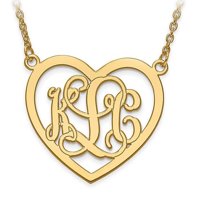 10k Gold Etched Elegant Script Letters Large Open Heart