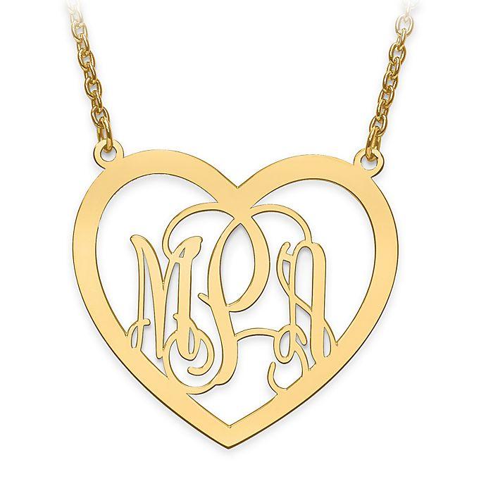 Alternate image 1 for 14K Yellow Gold Laser-Cut Elegant Script Letters 18-Inch Chain Large Open Heart Pendant Neckla