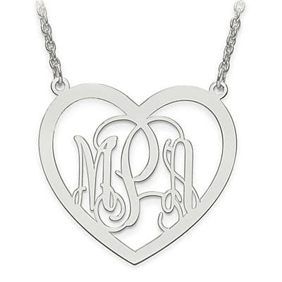 14K Gold Laser-Cut Elegant Script Letters 18-Inch Chain Large Open Heart Pendant Necklace