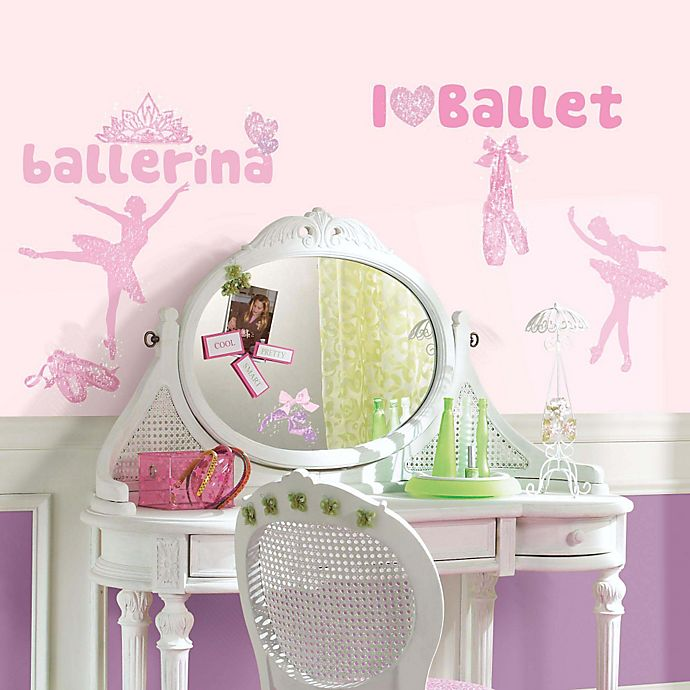 Alternate image 1 for York Wallcoverings Ballet Peel and Stick Wall Decals with Glitter