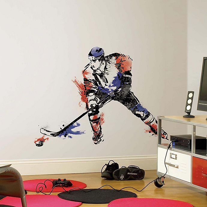 Alternate image 1 for York Wallcoverings Men's Hockey Champion Peel and Stick Giant Wall Decals (Set of 9)