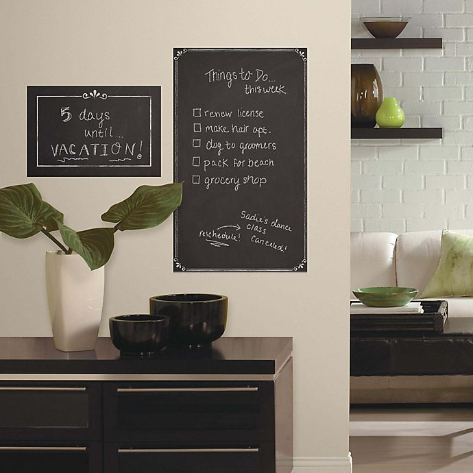 Alternate image 1 for RoomMates Decorative Chalkboard Peel & Stick Giant Wall Decals (Set of 2)