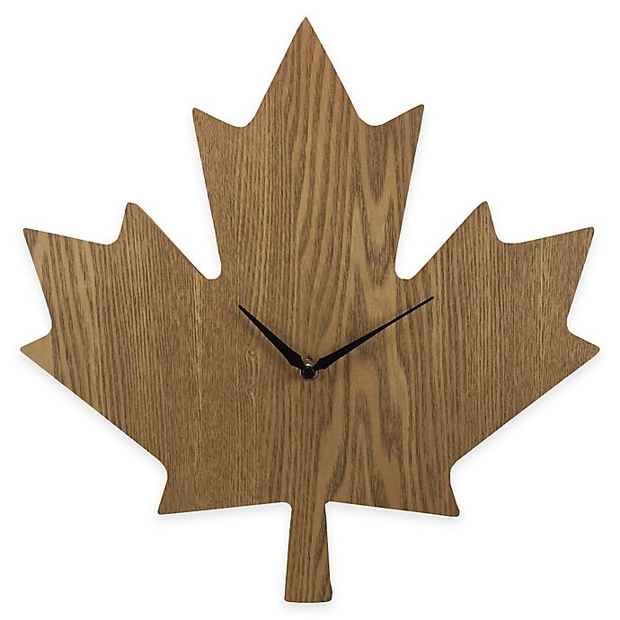 Maple Leaf Wood Grain Wall Clock Bed Bath And Beyond Canada