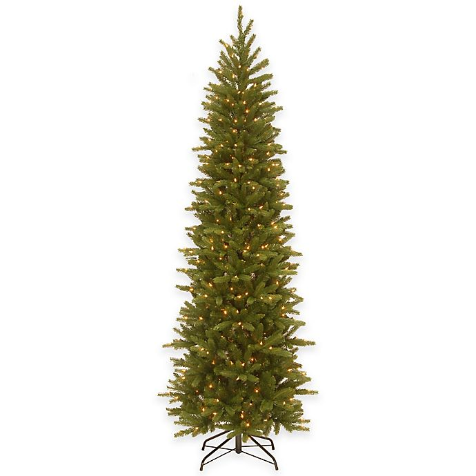 national tree 75 foot grande fir pre lit pencil christmas tree with clear lights - Pre Lit Pencil Christmas Tree