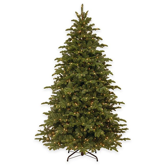 Alternate image 1 for National Tree 7.5-Foot Mountain Noble Blue Spruce Pre-Lit Hinged Christmas Tree with Clear Lights