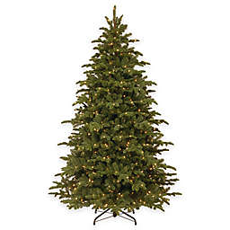National Tree 7.5-Foot Mountain Noble Blue Spruce Pre-Lit Hinged Christmas Tree with Clear Lights