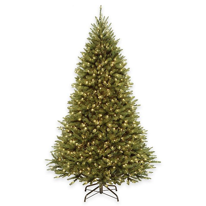 Alternate image 1 for National Tree 7.5-Foot Kingswood Fir Pre-Lit Hinged Christmas Tree with Dual-Color LED Lights