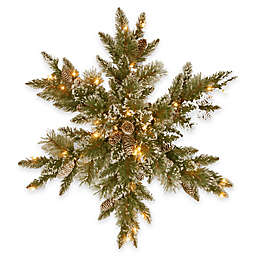 National Tree Company 32-Inch Pre-lIt Glittery Bristle Pine Snowflake with LED Lights