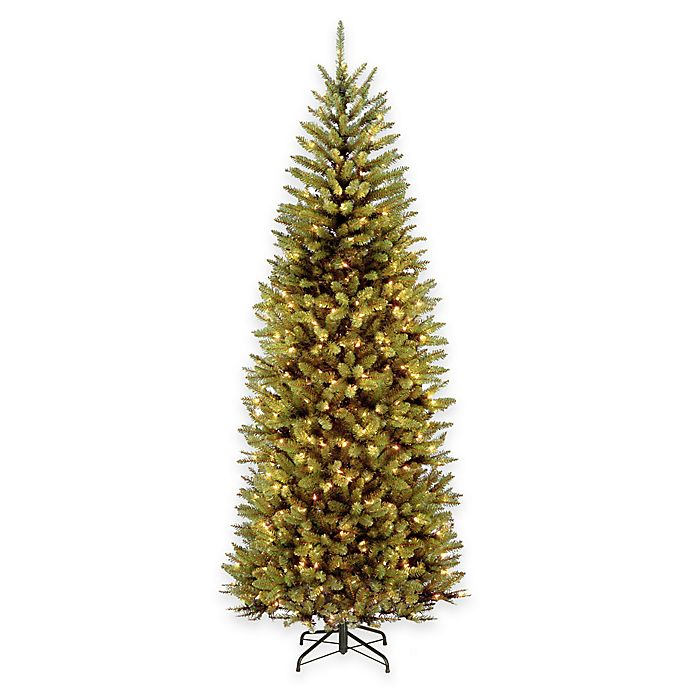 pre lit hinged slim christmas tree with dual color led lights view a larger version of this product image - Pre Lit Slim Christmas Tree