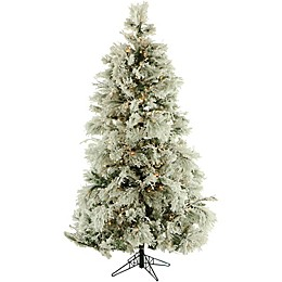 Fraser Hill Farm 7.5-Foot Pre-Lit Clear Flocked Snowy Pine Artificial Christmas Tree