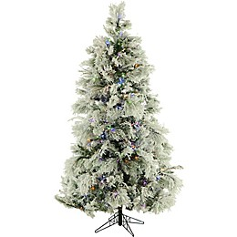 Fraser Hill Farm 7.5-Foot Pre-Lit Multi-Colored Flocked Snowy Pine Artificial Christmas Tree