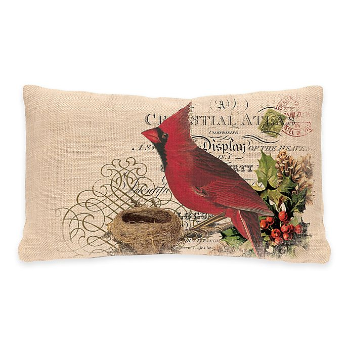 Alternate image 1 for Heritage Lace® Winter Garden Cardinal Oblong Throw Pillow