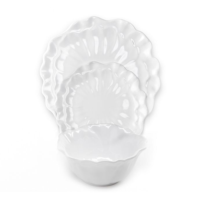 Alternate image 1 for Q Squared Peony 12-Piece Dinnerware Set in White