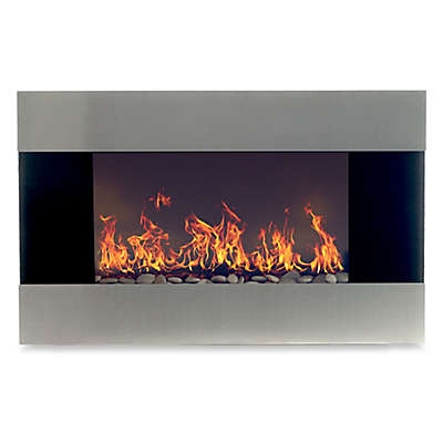 Northwest Stainless Steel Electric Fireplace Heater in Black