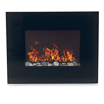 Northwest Glass Panel Electric Fireplace Heater in Black