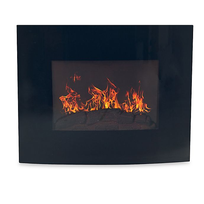Alternate image 1 for Northwest Curved Glass Electric Fireplace Heater in Black