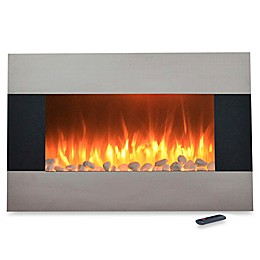 Northwest 36-Inch Stainless Steel Electric Fireplace Heater in Black