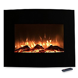 Northwest Mini Curved Glass Electric Fireplace Heater in Black