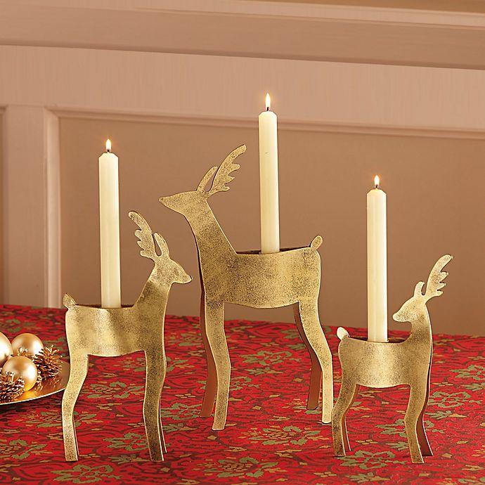 Alternate image 1 for Reindeer Taper Holder in Antique Gold Finish