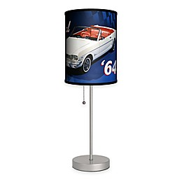 Original '64 Mustang Table Lamp in Silver with Fabric Shade and CFL Bulb