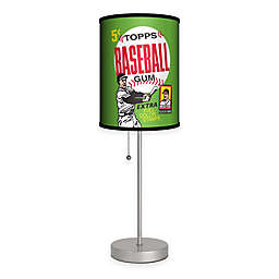 Topps™ Baseball 1962 Bubble Gum Wrapper Table Lamp in Silver with Fabric Shade and CFL Bulb