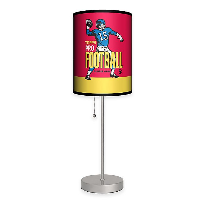 Alternate image 1 for Topps™ Pro Football Bubble Gum Wrapper Table Lamp in Silver with Fabric Shade and CFL Bulb