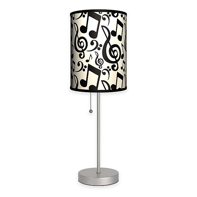 Alternate image 1 for Musical Notation Table Lamp in Silver with Fabric Shade and CFL Bulb