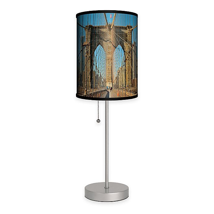 Alternate image 1 for Brooklyn Bridge Color Table Lamp with Matte Silver Base and CFL Bulb