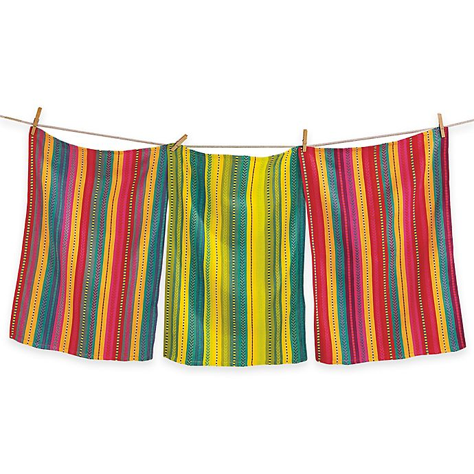 Living Quarters Washcloths: Artisan Woven Stripe Dish Towels (Set Of 3)