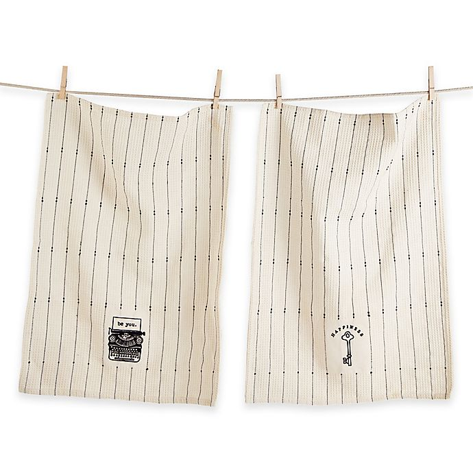 Alternate image 1 for Happiness Oversized Waffle Weave Kitchen Towels in Ivory/Black (Set of 2)