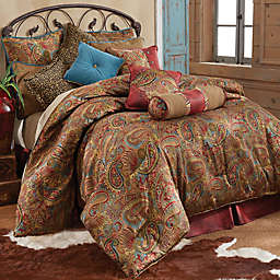 HiEnd Accents San Angelo Comforter Set with Red Faux Leather Bed Skirt