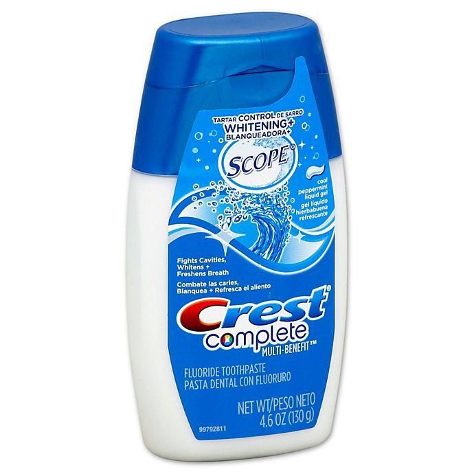 Alternate image 1 for Crest® Complete Multi-Benefit® 4.6 oz. Plus Scope Liquid Gel Toothpaste in Cool Peppermint