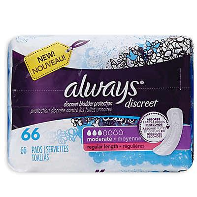 Always® 66-Count Discreet Moderate Pads in Regular Length