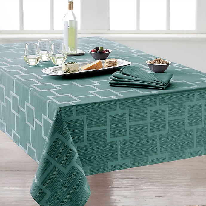 Alternate image 1 for Origins™ Tribeca Microfiber 60-Inch x 120-Inch Oblong Tablecloth in Turquoise