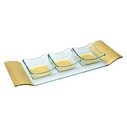 Classic Touch Trophy 3-Bowl Square Relish Dish with Tray in Gold