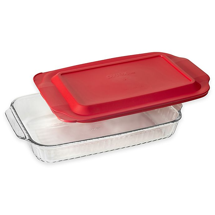 Alternate image 1 for Pyrex® Glass 3 qt. Sculpted Baker with Red Lid