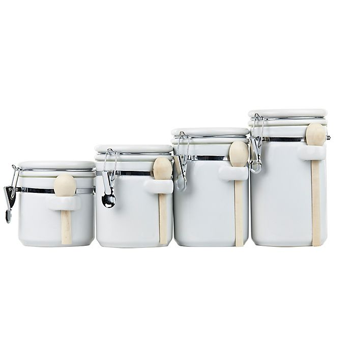 Alternate image 1 for Home Basics 4-Piece Ceramic Canister Set with Spoons in White