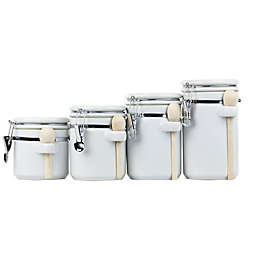 Home Basics 4-Piece Ceramic Canister Set with Spoons in White