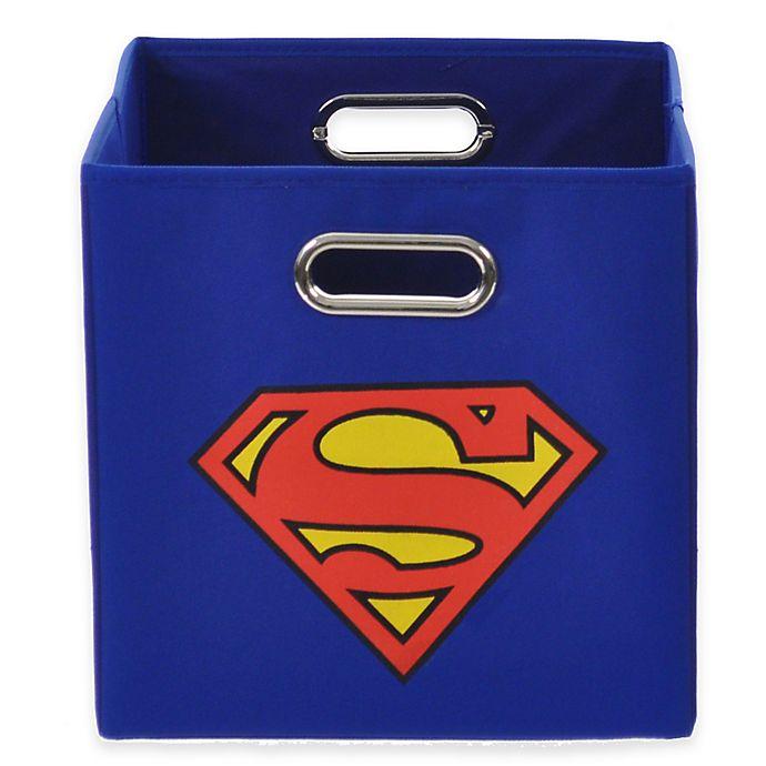 Alternate image 1 for Modern Littles Superman Folding Storage Bin in Blue
