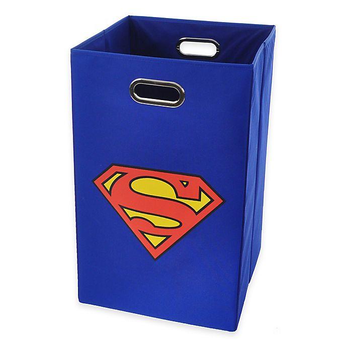 Alternate image 1 for Modern Littles Superman Folding Laundry Bin in Blue