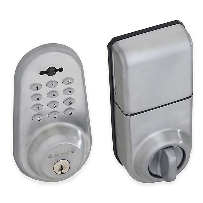 Alternate image 1 for Honeywell 8.75-Inch Digital Door Lock and Deadbolt with Remote in Satin Chrome