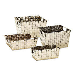 Woven Storage Tote in Gold