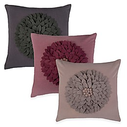 Rizzy Home Flower Applique Pattern Square Throw Pillow
