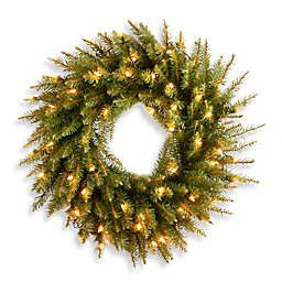 National Tree Kingswood Fir 24-Inch Pre-Lit Wreath with Dual-Color LED Lights