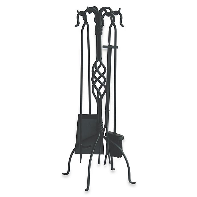 Alternate image 1 for UniFlame® F-1053 5-Piece Black Wrought Iron Fireset with Center Weave