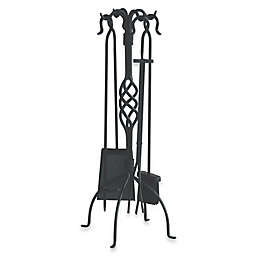 UniFlame® F-1053 5-Piece Black Wrought Iron Fireset with Center Weave
