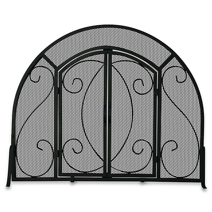 Alternate image 1 for UniFlame® S-1062 Black Wrought Iron Single-Panel Fireplace Screen with Doors