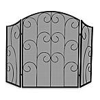 UniFlame® S-1507 3-Fold Black Wrought Iron Fireplace Screen