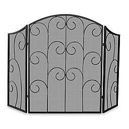 UniFlame® 3-Fold Black Wrought Iron Fireplace Screen